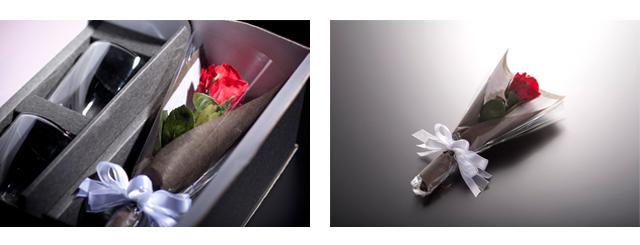 バラ プリザーブドフラワー 花束 ラッピング レイエスダブルウォールグラス
